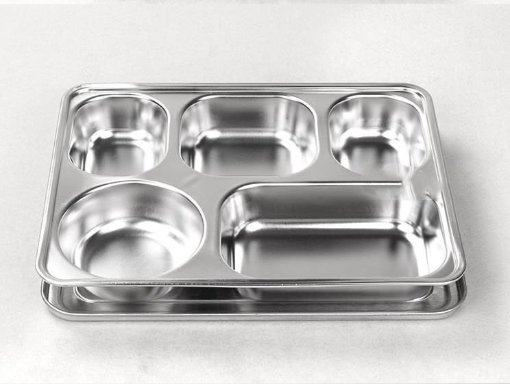lihong factory 5 sections stainless steel lunch box dinner plate tray with dividers buy high. Black Bedroom Furniture Sets. Home Design Ideas