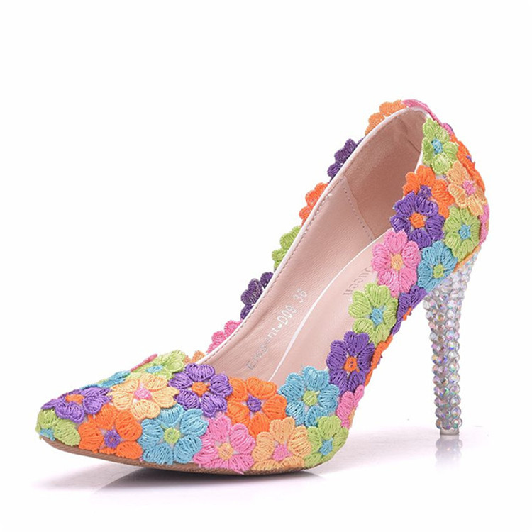 2018 Women's Pumps Lace Colorful Flowers Decoration Sexy High Heels Shoes Matching Handbag Sets