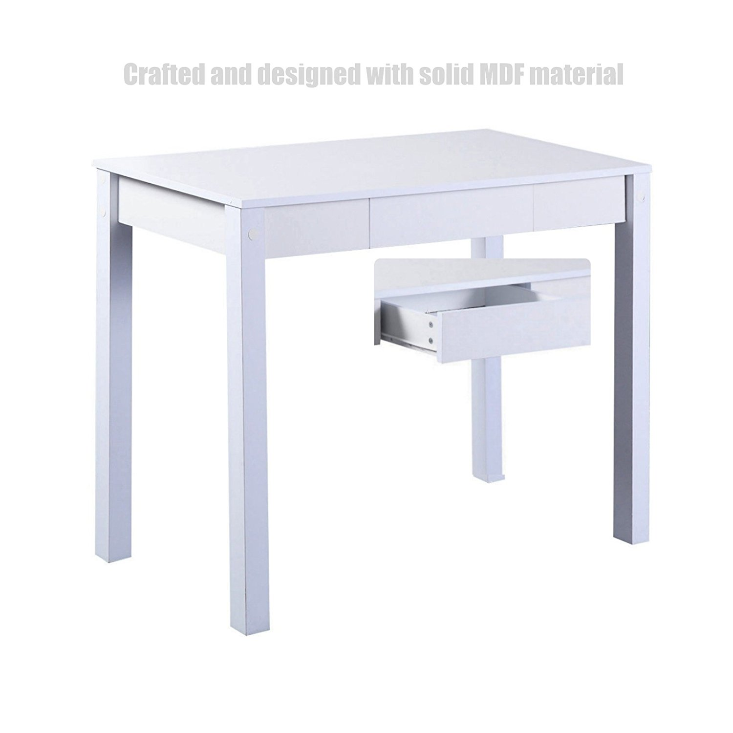 Modern Computer Desk PC Laptop Wood Table Solid MDF Material Multi-Purpose Workstation Home Office Furniture Metal Frame - With Drawer White #1144w