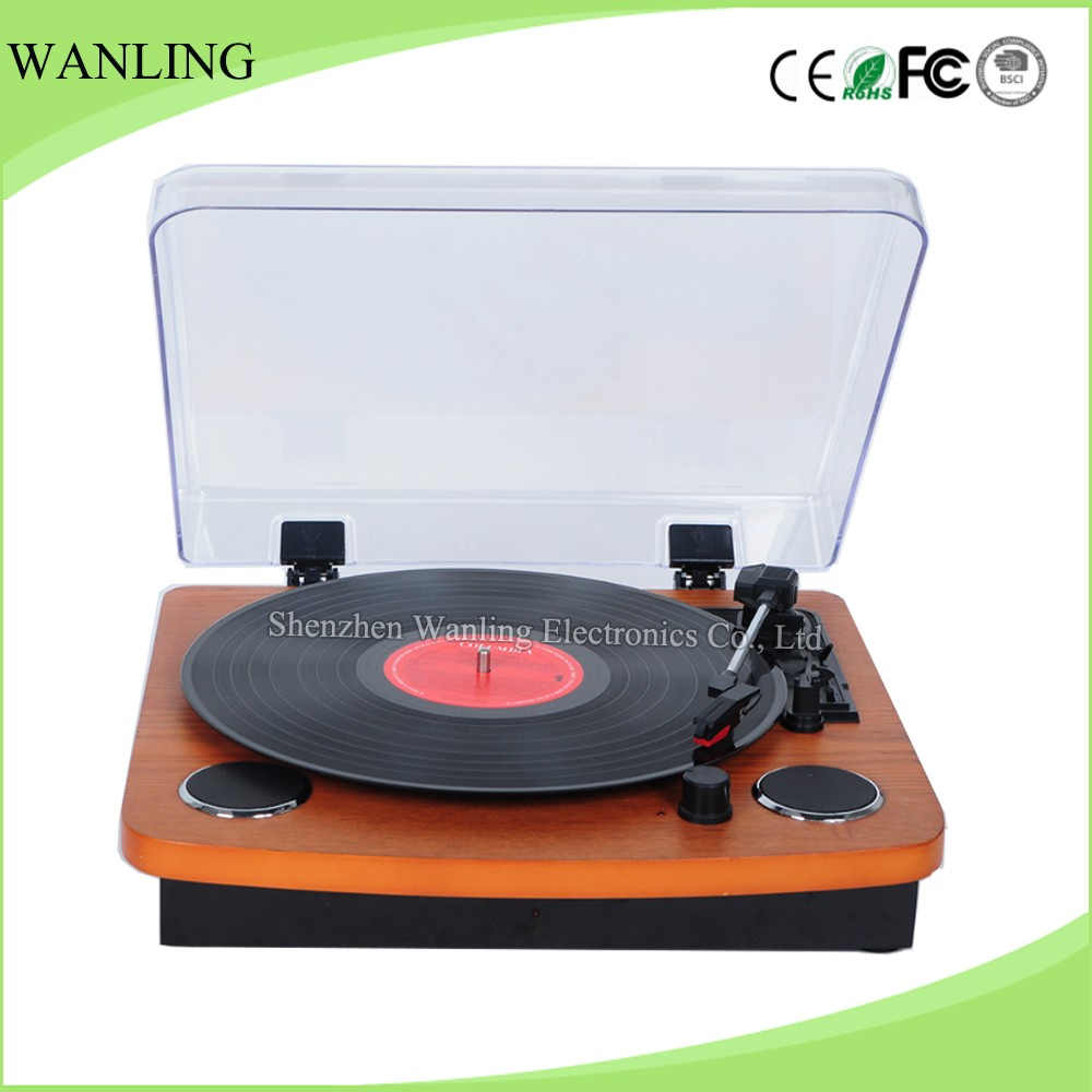 Belt drive horizontal record player vinyl turntable with built-in dual speakers