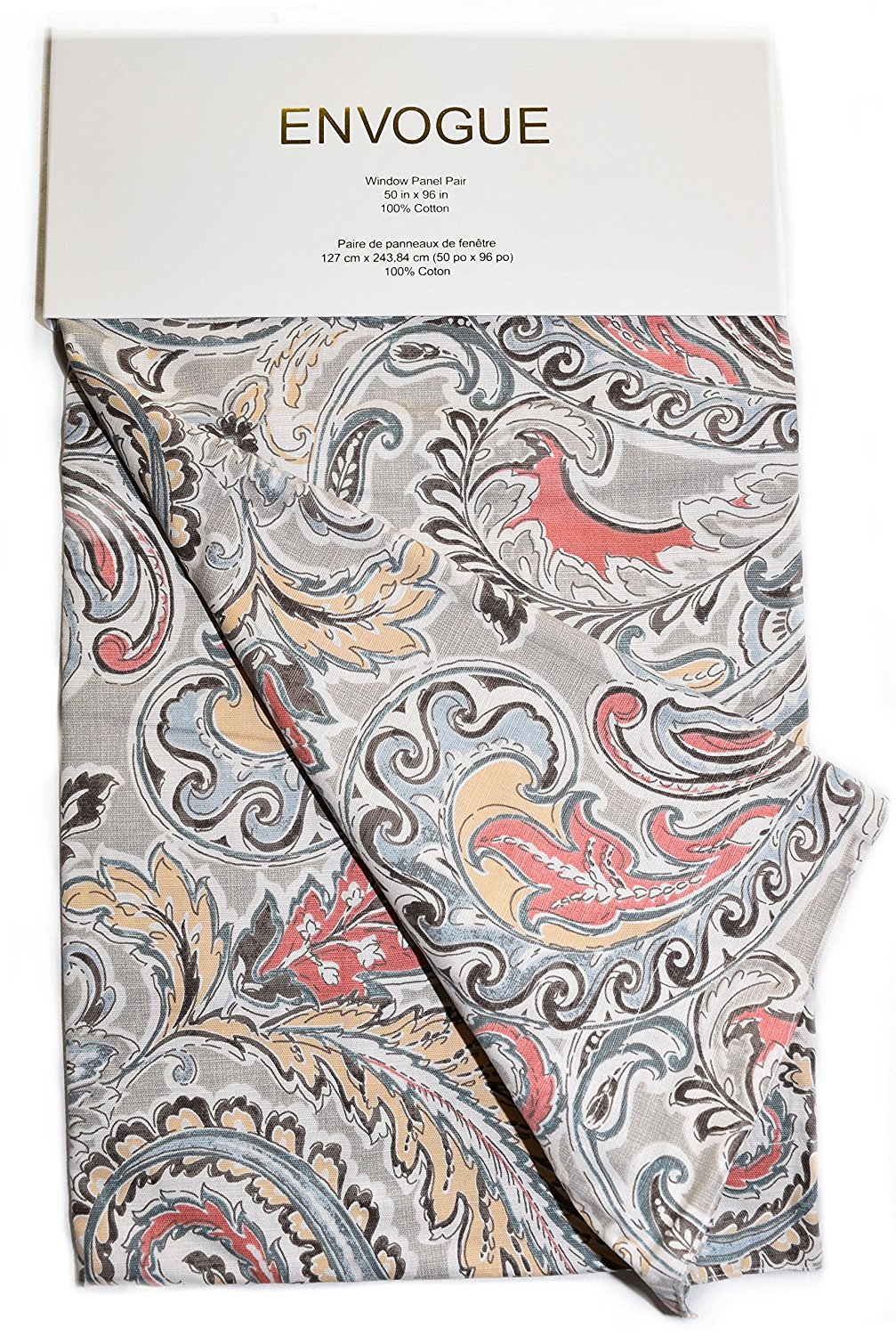 Get Quotations Envogue Jada Large Paisley Scrolls Pair Of Curtains 2 Window Panels 50 By 96 Inch