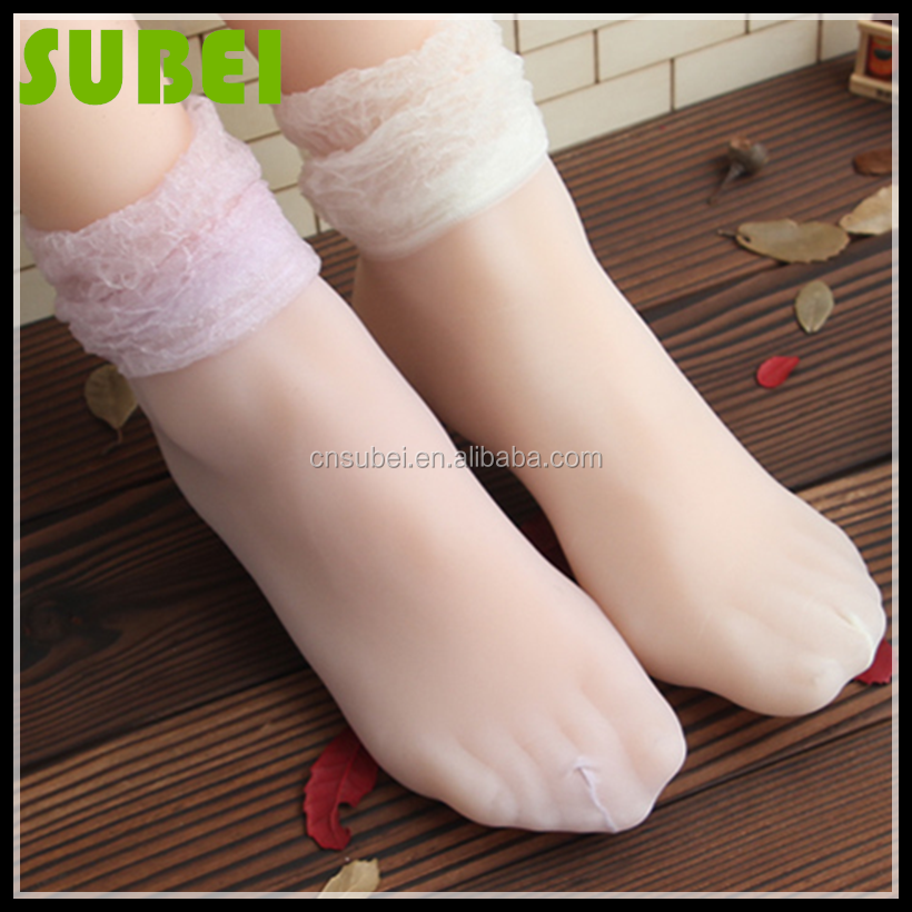 Ultra-thin 3D velvet bubble cut out heap heap socks, female lace and fresh tiptoe transparent short silk socks