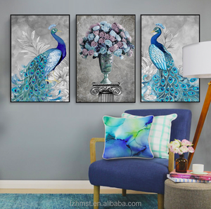 Modern Wall Picture Art Poster Print Peacock Painting on canvas