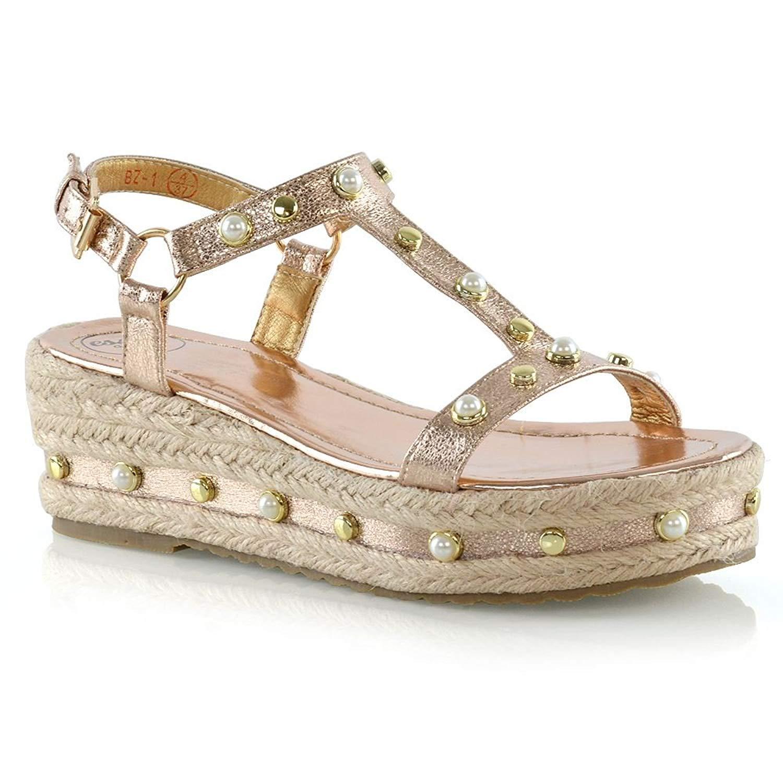 1a1ff0caebe ESSEX GLAM Womens Platform Sandals Ladies Studded Wedge Heel Espadrilles