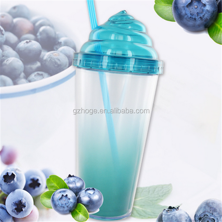 Custom Double Wall Plastic Travel Sippy Cups With Ice Cream Lid For Beach