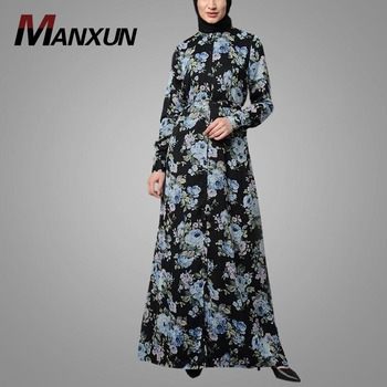 Elegant Women Floral Long Dress Plus Size Hot Sell Islamic Women Clothing With Button Muslim Long Open Abaya Dress