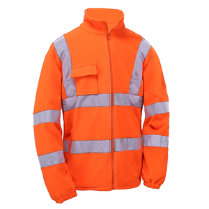 Men`s style reflective safety clothing 100% polyester polar fleece jacket