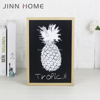 In Stock Mount Black MDF Picture frame Art Decor Wall hanging Pineapple photo frame Painting and Print Solid Wood Poster frame