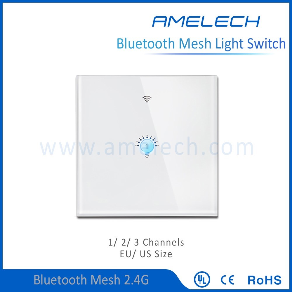 new design bluetoooth mesh 4.0 touch screen smart 1 gang 1 way wall switch