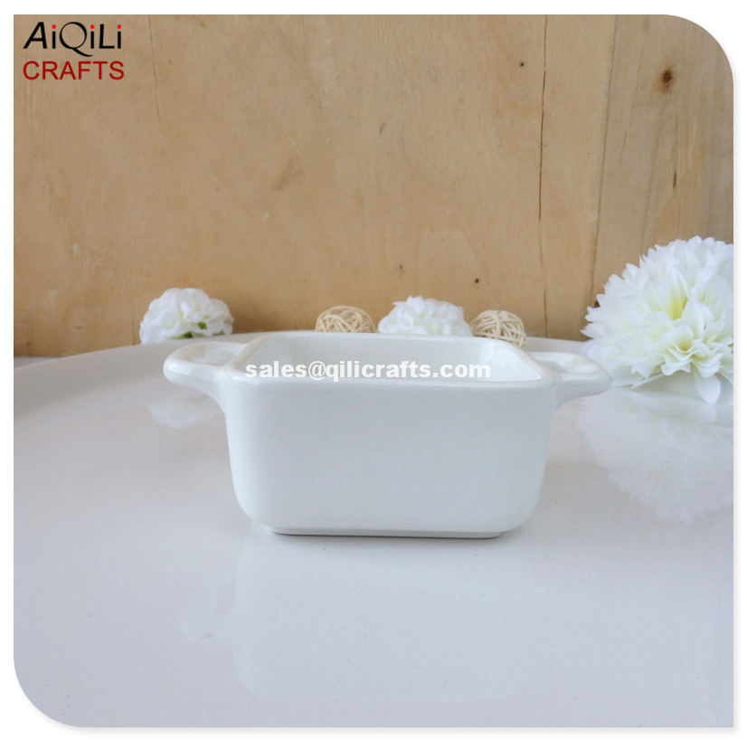 square shape white galze porcelain tealight holder with handle