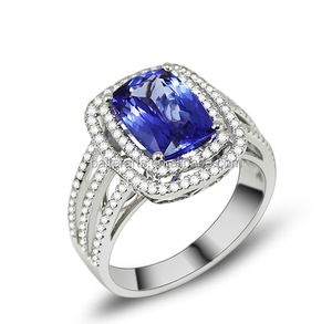 18K White Gold 3 Strand Sapphire Blue Cushion Double Halo Clear CZ Tanzanite Ring with Diamond Pave