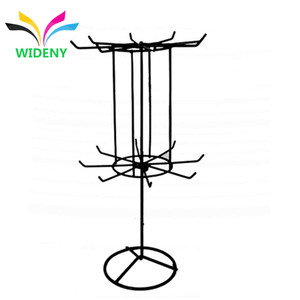 Portable round hook metal wire flooring rotating clothes display rack
