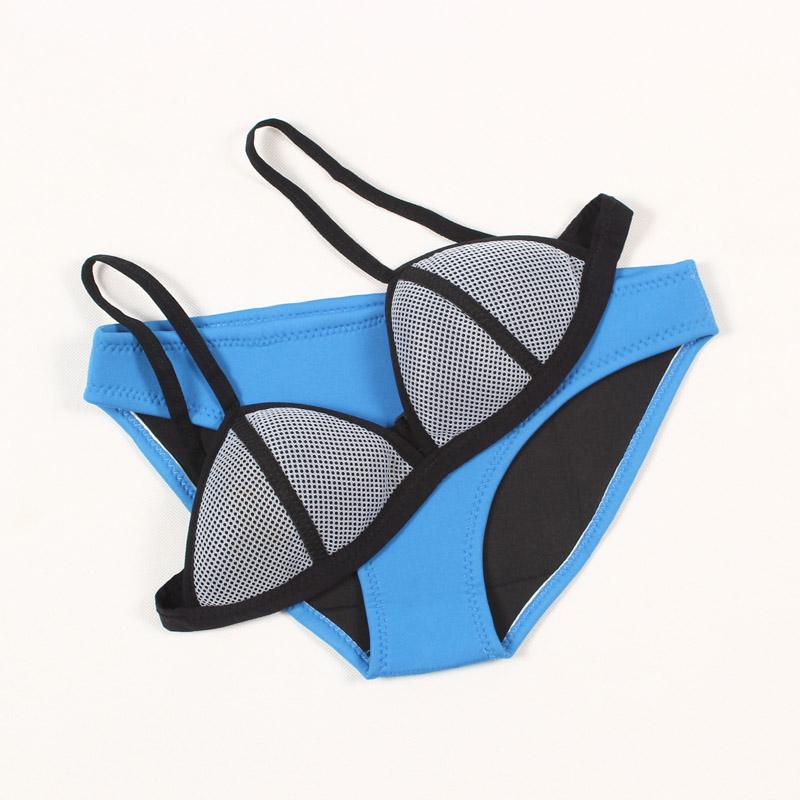 7f323d42a0 Triangl Bikinis Set Sexy Triangle Two Piece Swimwear Women's Bathing Suit  Net Dot Top Swimsuit Neoprene