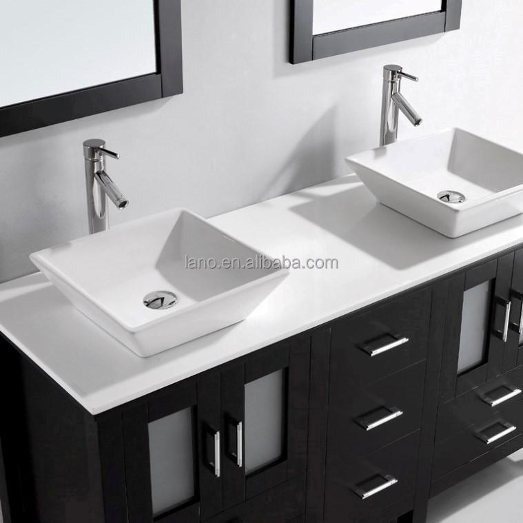 60 pulgadas moderno roble s lido espresso doble lavabo del - Muebles de bano dobles ...