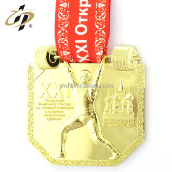 Custom zinc alloy 3D gold weightlifting metal sports medal with ribbon