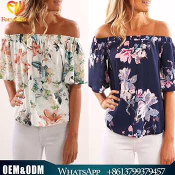 2017 new design shirts casual floral off shoulder top flare sleeve boat  neck blouse designs womens 5b56f72982