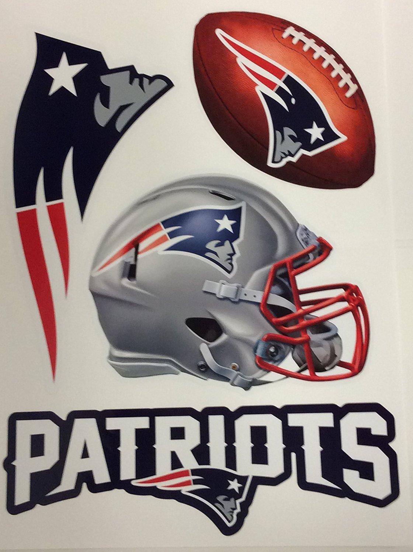 "New England Patriots FATHEAD Set of 4 Team Logo Official NFL Vinyl Wall Graphics 16"" INCH SHEET"
