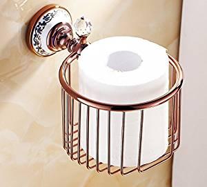 ZWBD Toilet Paper Holder Bathroom Paper Box With Crystal Brass Rose Golden Finish,Dark Khaki