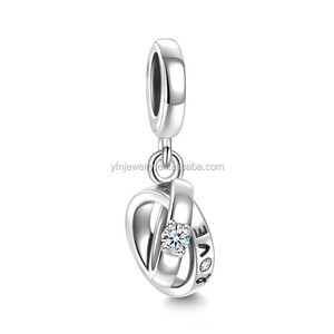 Wedding Rings Dangle Charm 925 Sterling Silver,Charm Jewelry