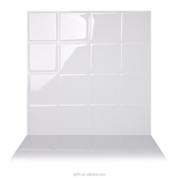 Premium Anti Mold Peel and Stick Wall Tile in Big Square White