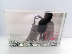 Love Water Globe Hearts Acrylic Valentine Gift Christmas Photo/Picture Snow Frame 6x4