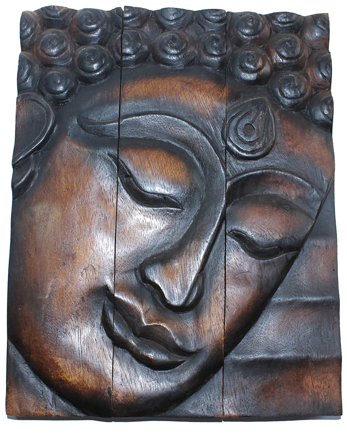 Get Quotations Hand Carved Wooden Thai Buddha Face Wall Art Plaque Hanging Panels Teak Dark