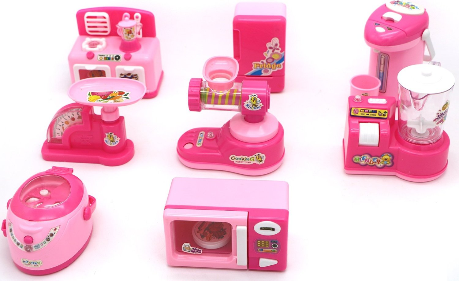 Kids Kitchen Set with realistic action and battery operated series of kitchen appliances for children 3+ designed for girls including mini blender, oven, fridge, dispenser, mincer, juicer, and cooker
