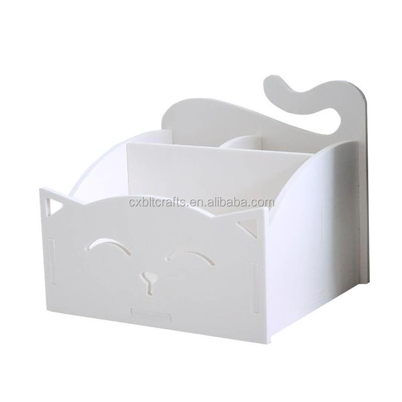 Large White Assemble Cute Cat Smile Face Desktop Organizer, Remote Control / Pen Pencil / Cosmetic Holder Caddy Storage for Home