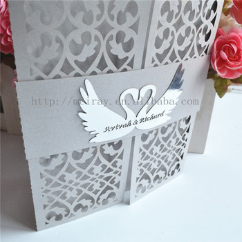 2016 Laser Paper Diy Wedding Card With Swan Band From Chinese Manufacturer