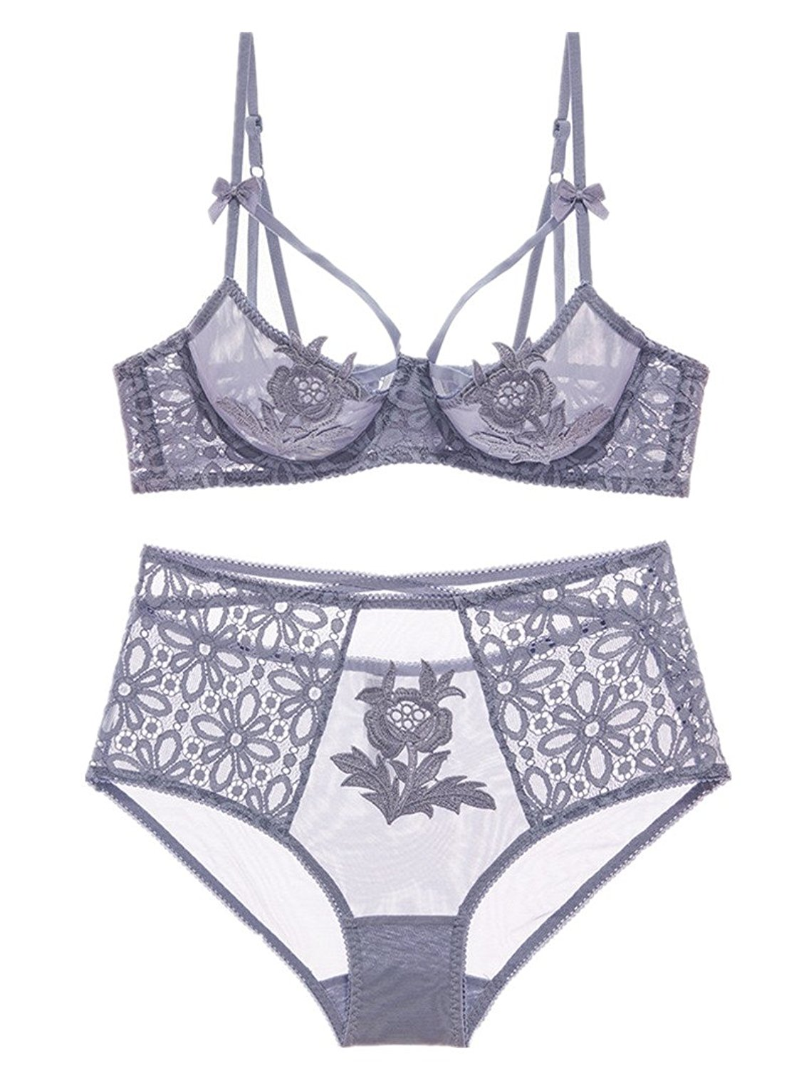 Get Quotations · MY AGLAIA Unlined Strappy Underwire Bra and High Waisted  Knicker Hipster set 65e760daf