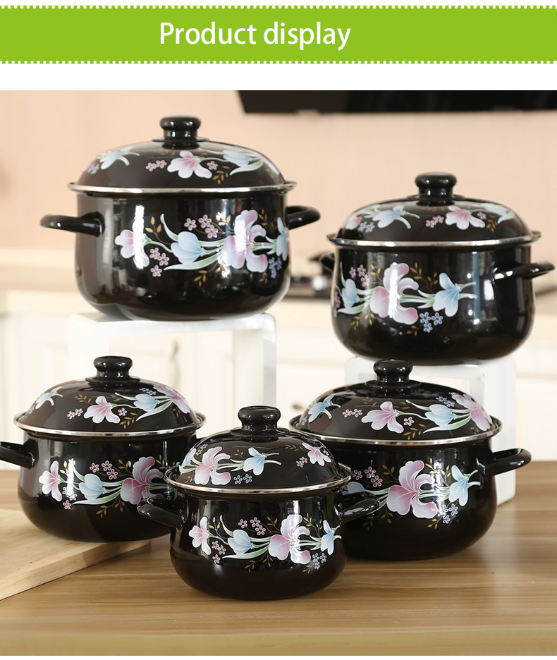 High Quality Double Handle 5pcs Lighting Gray Flower Print Enamel Flower Creamic Cookware Set