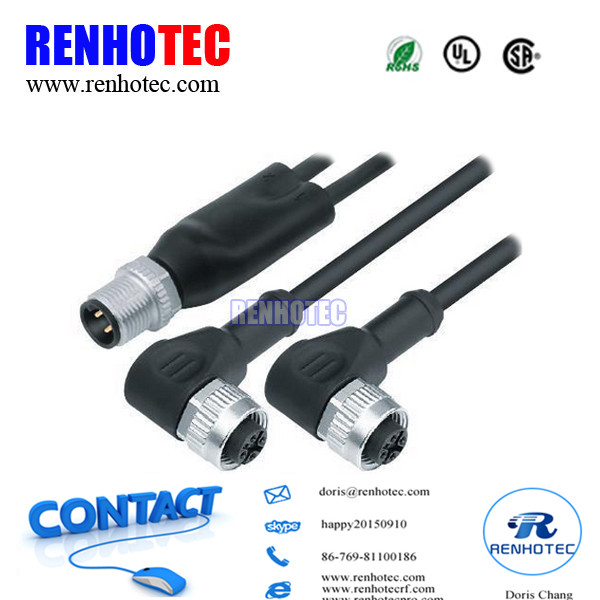 Waterproof 90 Degree Male And Female IP67 3 4 5 8 12Pin M12 Connector With PVC PUR Cable