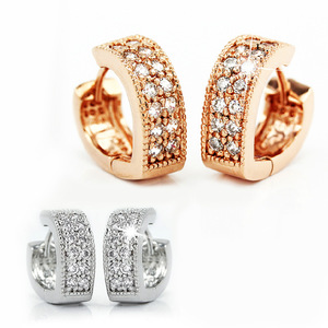 Wholesale heart shape ear clip different hypoallergenic ear studs double row diamond earring