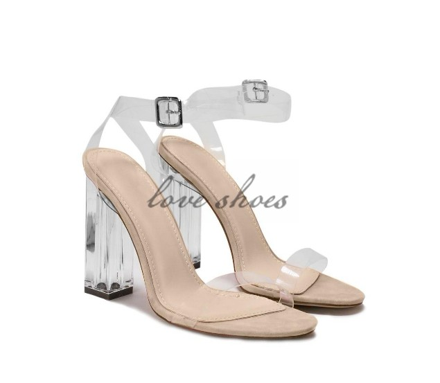 b088ce07904 Transparent Band Ankle Buckle Strap Girls Summer Shoes Perspex Block ...