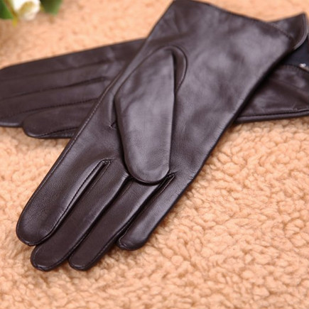 Stylish women cute bow genuine nappa soft leather gloves