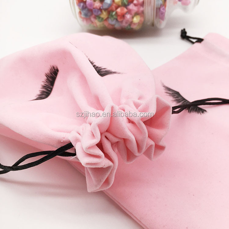 wholesale small lipstick perfume cosmetic eyelash bag packaging velvet jewelry pouch