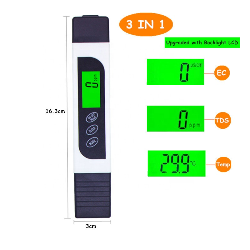3 in 1 LCD Digital TDS EC Temperature Tester meter with backlight water quality monitor C/F for aquarium