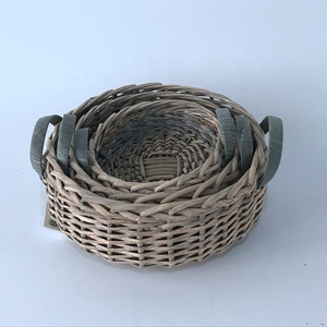 Customized design gray color round shaped wicker basket bulk storage willow basket with handle
