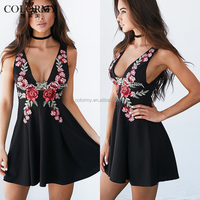 Best price fashion women clothing custom deep-v neck sexy embroidered dress