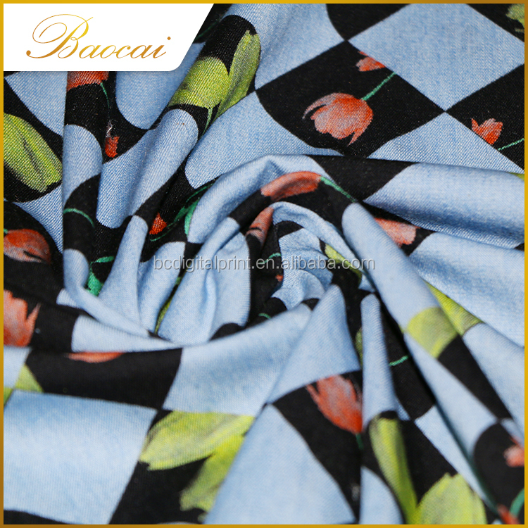 Luxury cotton washed denim fabric with custom pattern digital printing