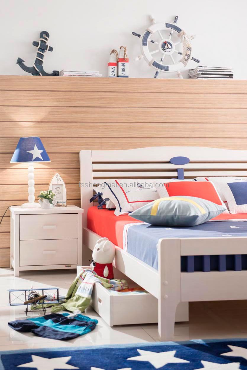 latest new desgin eco-friendly single size and white color solid wood  children bedroom furniture