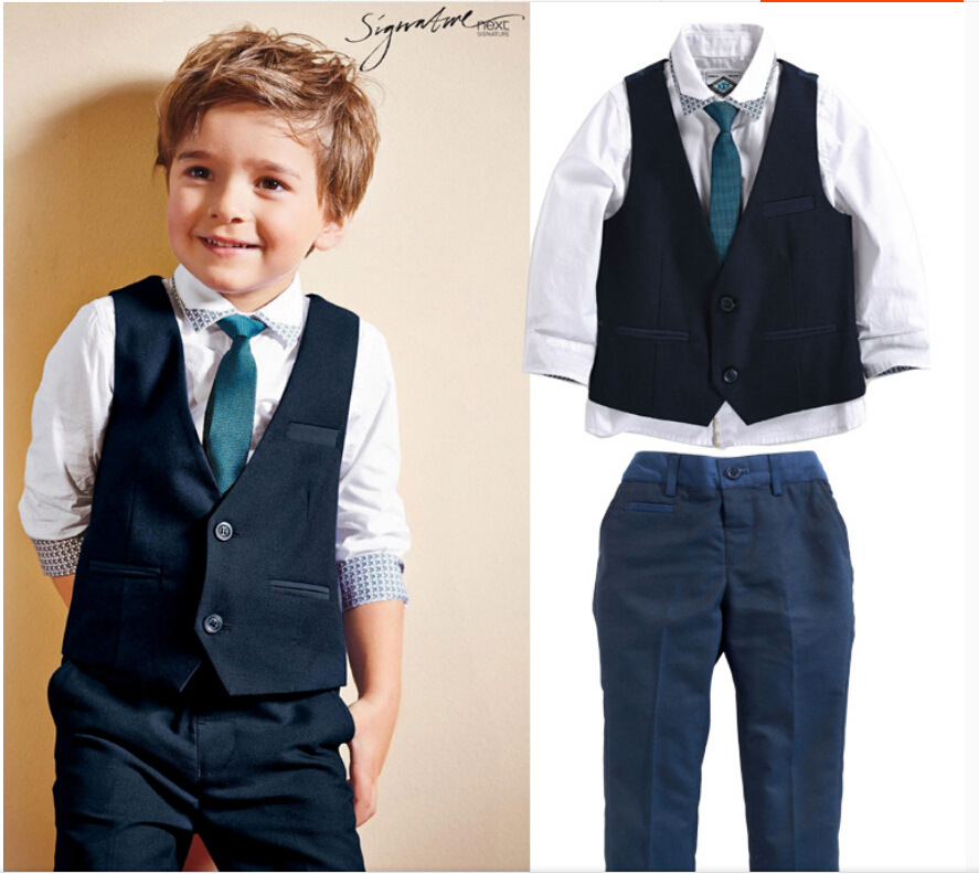 2015 New 4pcs Boys Suits For Weddings Turn down Collar Boy Blazer Suit Boys Single Breasted