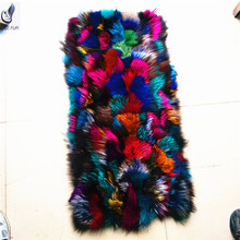 ALICEFUR High quality wholesale customized design Real genuine colorful fox fur plate