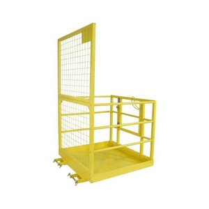 "2 Person Yellow 45"" X 43"" Forklift Platform Safety Cage"
