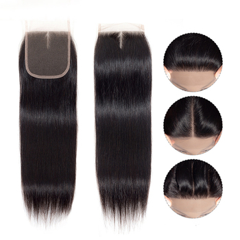 "Luxefame Hair Brazilian Straight Lace Closure Free/Middle/Three Part Natural Color 4x4 Swiss Lace Remy Hair Closure 8""-22"""