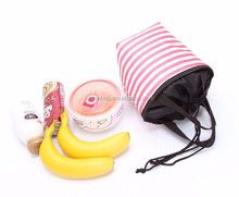 China custom 210D polyester outdoor picnic insulated drawstring lunch cooler bag/lunch box thermal tote warmer bag