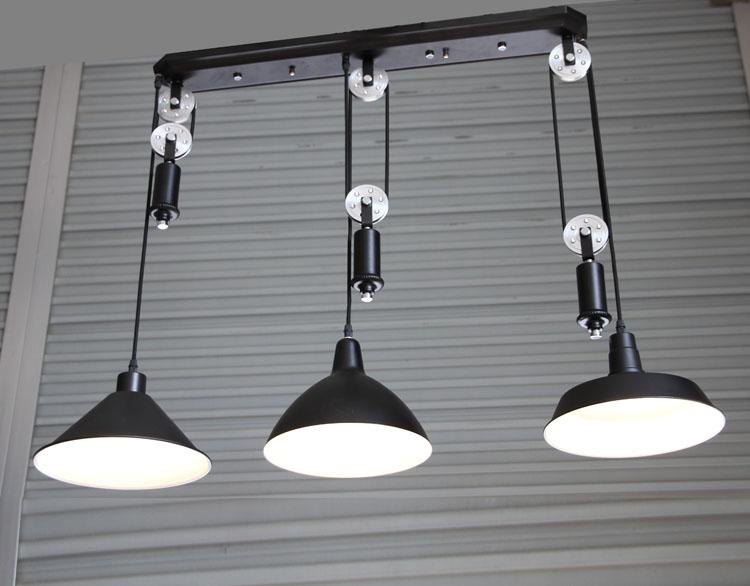 bar vintage adjustable pulley pendant lamp lights e27 3 led lamparas black retro industrial. Black Bedroom Furniture Sets. Home Design Ideas