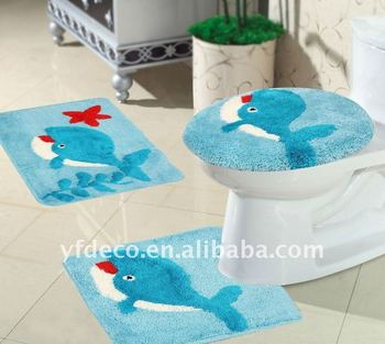 Acrylic Tufted Dolphin Design Bathroom Rug 3pcs Set