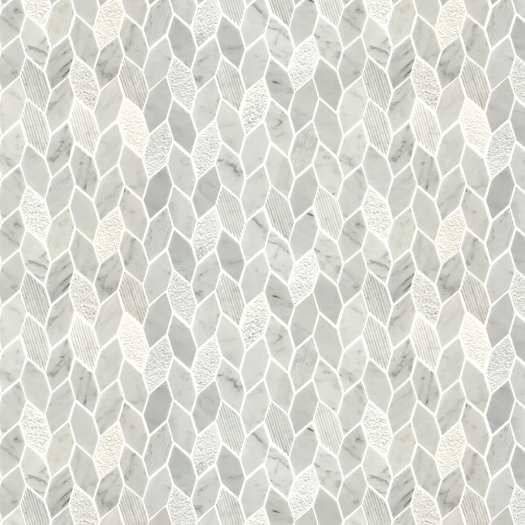 Tile Mosaic Italian Carrara Polished Custom Water Jet Cut