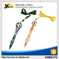 Promotional office plastic paper ball pen football on the top with lanyard